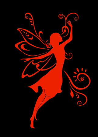 Illustration Silhouette of funky fairy on flower pattern design