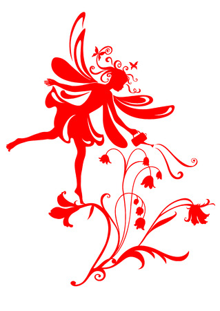 illustration Silhouette of funky fairy on flower pattern design Vector