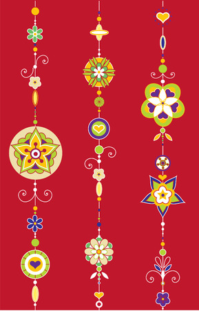 Illustration of Decorative Wind Chimes with authentic ornament design Vector