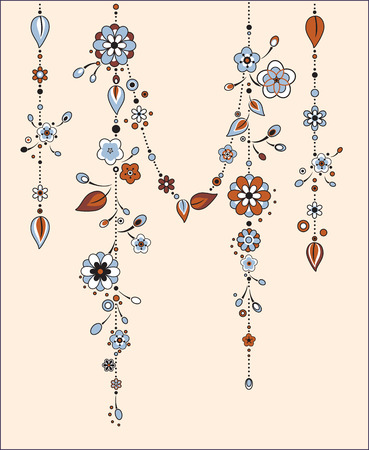 chimes: Illustration of Decorative Wind Chimes with floral ornament design Illustration