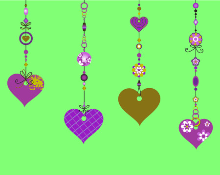 Illustration of Decorative Wind Chimes with fanky heart shapes design Vector