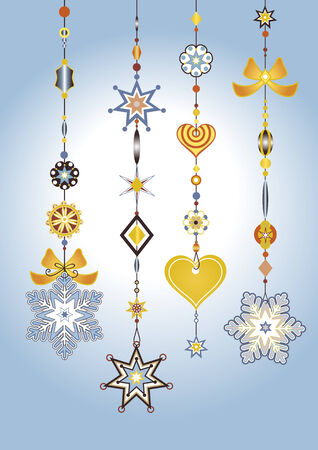 tinkle: Illustration of Decorative Wind Chimes with fanky snowflake shapes design