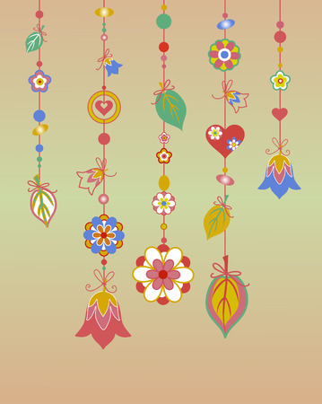 Illustration of Decorative Wind Chimes with floral ornament design Vector