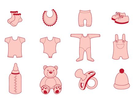 babywear: illustration set of baby  Clothing and Accessories Icons Stock Photo