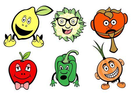 frutas divertidas: Ilustraci�n de frutas graciosos, lindos y un conjunto de iconos de vegetales. Foto de archivo