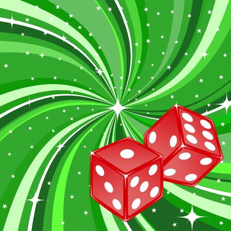 illustration of dice pair on the beautifull shiny green background. Casino items. illustration