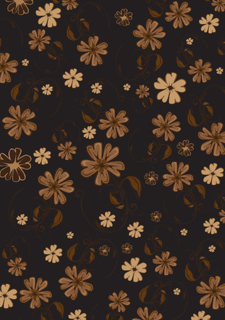 illustration of  funky flowers abstract pattern on brown background Stock Vector - 6466979