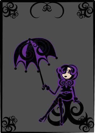 illustration of  cool Young woman in gothic style with  umbrella Vector