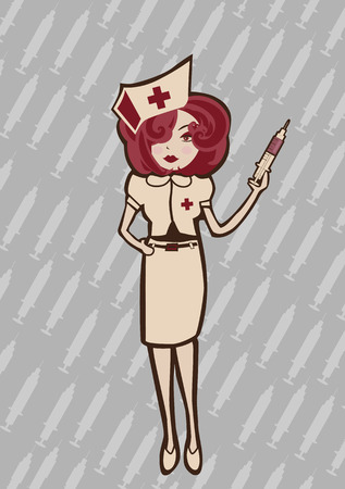 illustration of  cool Attractive and sexy nurse ready to take care of you Vector
