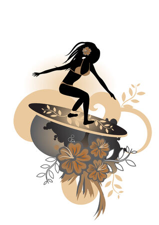 illustration of a very curvy female surfer emerging from the waves with stylized hibiscus and others floral elements Vector