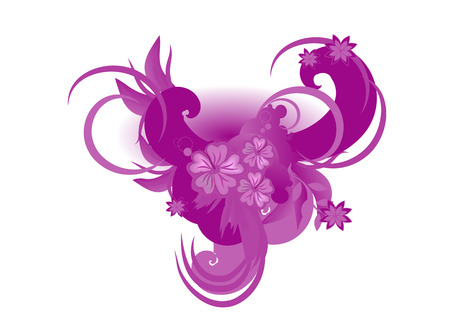 illustration of Decorative elements with hibiscus against stylized waves. Vector