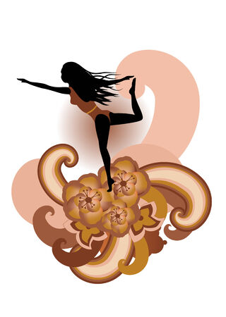 illustration of woman  practisig yoga  with stylized hibiscus and others floral elements  Vector