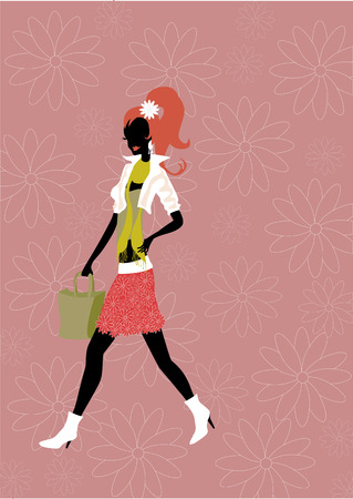 illustration of walking young woman silhouette on the funky floral background. Vector