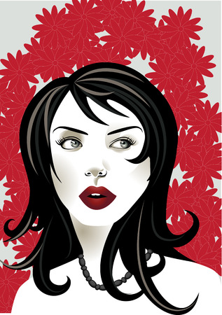 illustration of funky, cool, young woman portrait on the red floral background. Stock Vector - 6566180