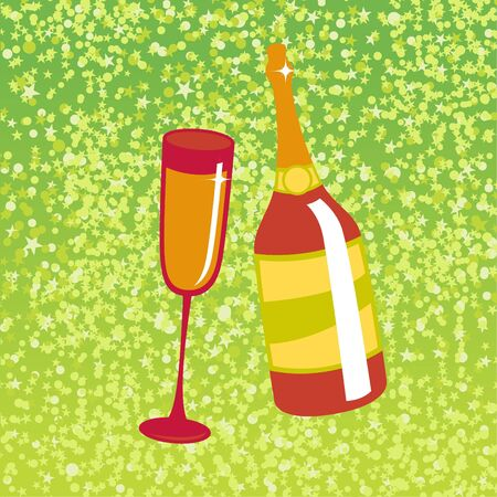 illustration of wine bottle and  glass on the red background, decorated with beautiful stars. illustration