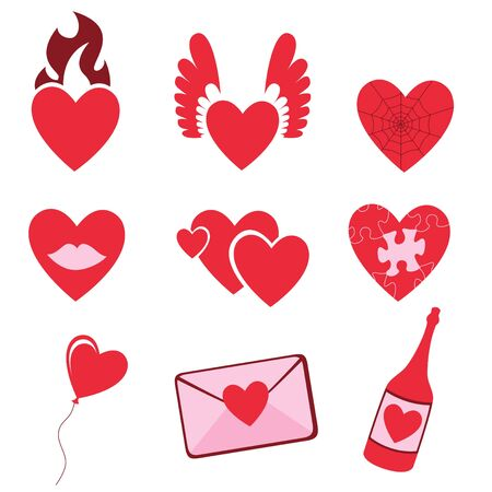 shopping champagne: illustration of Love icons.  Ideal for Valetine Cards decoration