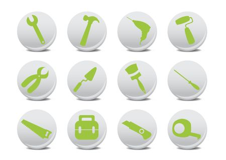proffesional: illustration of different kinds of proffesional instruments. Repairing tools icon set. Stock Photo
