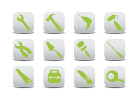 proffesional: illustration of different kinds of proffesional instruments. Repairing tools buttons set.