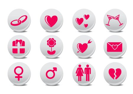 illustration of Love buttons.  Ideal for Valetine Cards decoration Stock Illustration - 6644847
