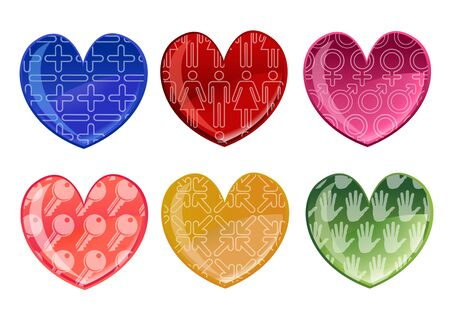 illustration of beautifull hearts icon set. Ideal for Valetine Cards decoration. illustration
