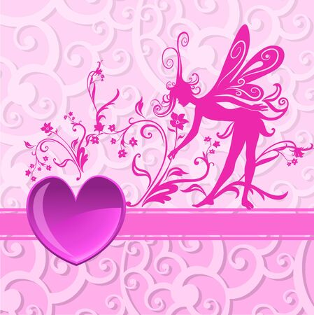illustration of Valentines Day background, decorated with beautifull heart with Silhouette of funky fairy illustration
