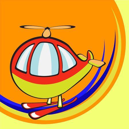 illustration of  Transport Cartoon . Little funny helicopter Stock Illustration - 6695564
