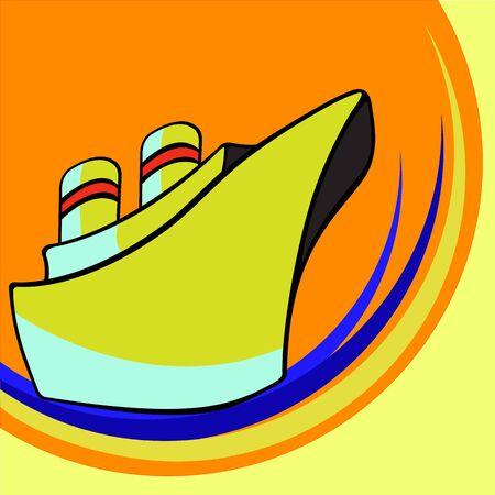 hull: illustration of Transport Cartoon. Funny little ship Stock Photo
