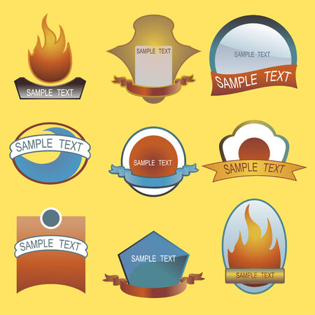 Illustration of blank traditional labels, includes different shields, flame and ribbons. Blank ribbon and plaques to customize. Vector