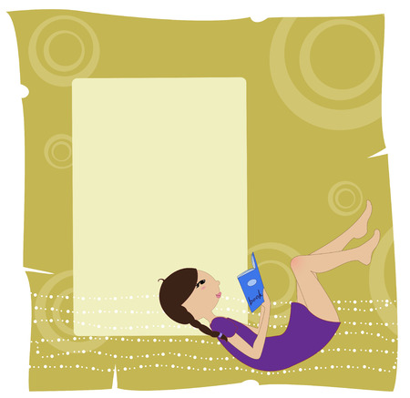 Illustration of cool invitation frame with funky Young girl