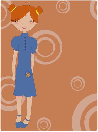 Illustration of cool retro girl Vector