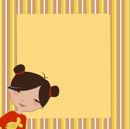 Illustration of cool invitation frame with funky Young girl Vector