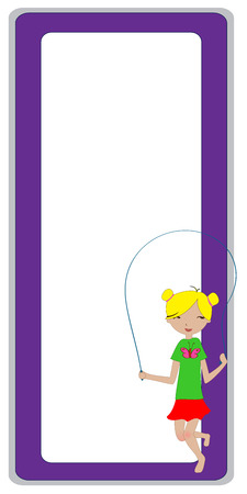 skipping rope: Illustration of cool invitation frame with funky Young girl