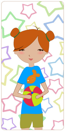 Illustration of the little girl playing with the ball on the funky star background Stock Vector - 6798144