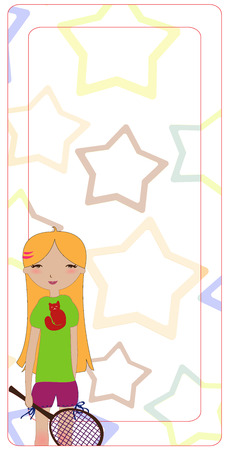Illustration of the cute invitation, decorated wuth the little girl playing tennis. There is a blank space for your own text.  Vector