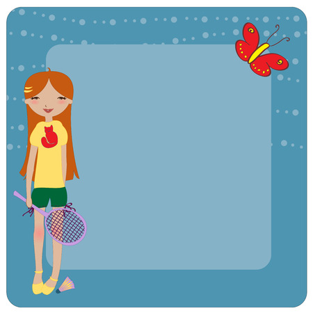 Illustration of cool invitation frame with funky Young girl, playing badminton Vector