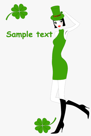illustration of funky St.Patricks Day greeting card with beautiful sexy girl  Vector