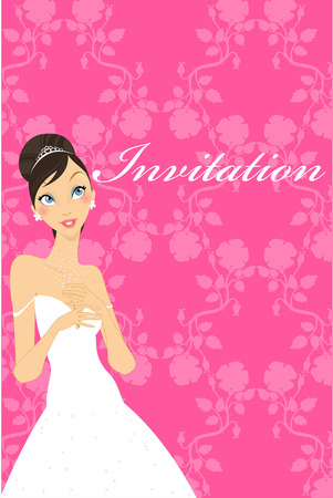 Illustration of beautiful wedding invitation with pretty bride. Vector