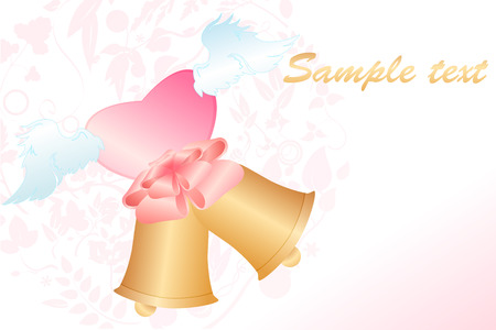 Illustration of beautiful classic wedding invitation decorated with bells and heart shape. Vector