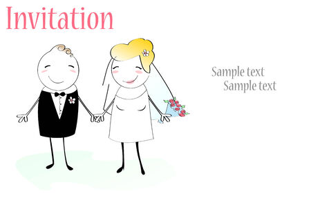 heterosexual: Illustration of funky wedding invitation with funny bride and groom