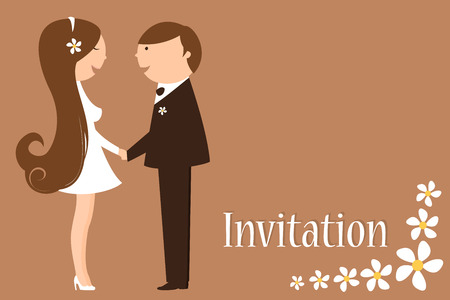 Illustration of funky wedding invitation with funny bride and groom