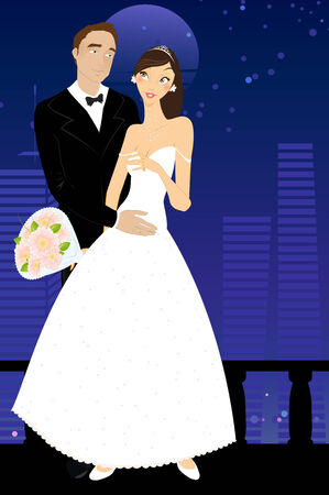 illustration of cool sexy bride and groom on the urban romantic background  Vector