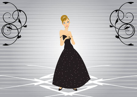 Illustration of beautiful women in the evening dress Stock Vector - 6785255