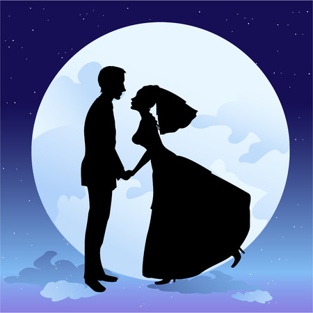 illustration of beautiful groom and bride in romantic night on the sky background with Giant full moon Vector