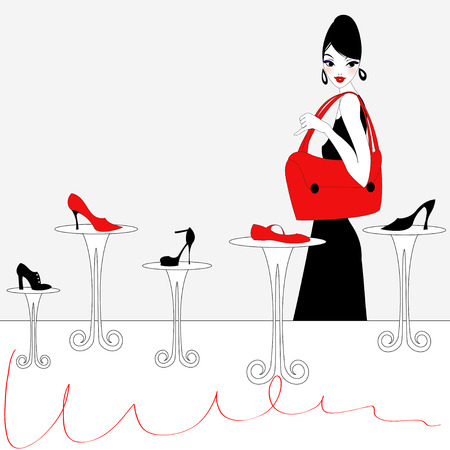 Illustration of funky beautiful sexy girl shopping for a new pair of shoes Vectores