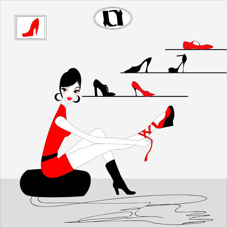 Vector Illustration of funky beautiful sexy girl shopping for a new pair of shoes Illustration