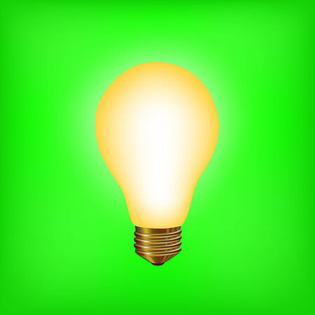 ight: illustration of the light bulb on the green background