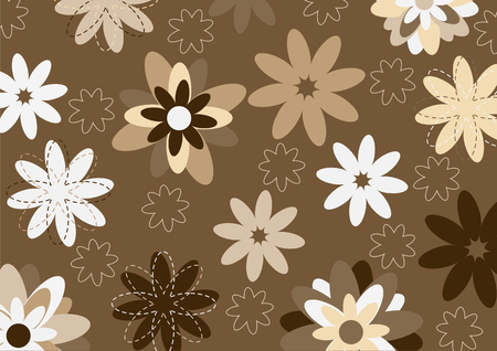 illustration of  funky flowers abstract pattern on brown background Stock Vector - 6937486