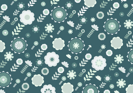 fruitful: illustration of green funky flowers and leaves retro pattern on green background