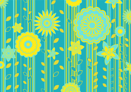 illustration of green and yellow funky flowers and leaves retro pattern on green background Vector