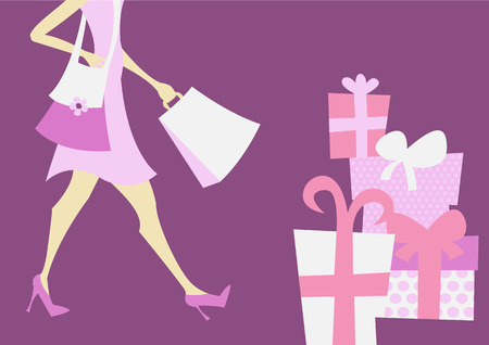 illustration of shopping girl. Includes shopping bags and present boxes Illustration